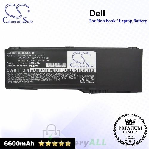 CS-DE6400HB For Dell Laptop Battery Model 0JN149 / 312-0427 / 312-0428 / 312-0460 / 312-0461 / 312-0466 / 312-0467