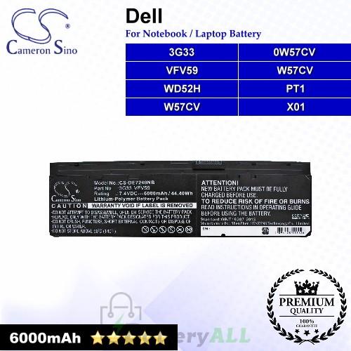 CS-DE7240NB For Dell Laptop Battery Model 0W57CV / 451-BBFT / 451-BBFV / 451-BBFX / 452-BBFY / GVD76 / HJ8KP
