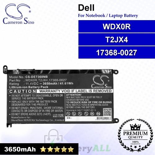 CS-DE7368NB For Dell Laptop Battery Model 17368-0027 / T2JX4 / WDX0R