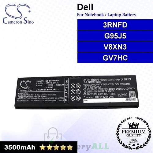 CS-DE7450NB For Dell Laptop Battery Model 34GKR / 3RNFD / 451-BBFS / 451-BBFT / 451-BBFV / 451-BBFY / F38HT