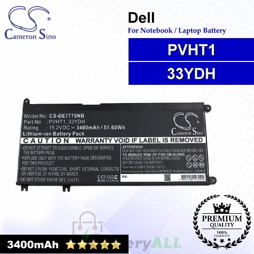 CS-DE7778NB For Dell Laptop Battery Model 33YDH / PVHT1