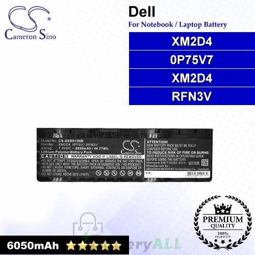 CS-DEB013NB For Dell Laptop Battery Model 0P75V7 / RFN3V / XM2D4