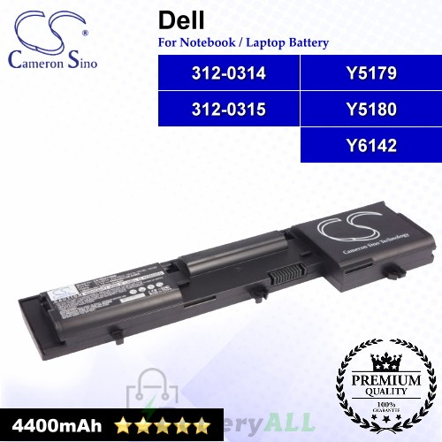 CS-DED410NB For Dell Laptop Battery Model 312-0314 / 312-0315 / Y5179 / Y5180 / Y6142