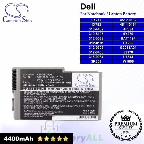 CS-DED500 For Dell Laptop Battery Model 0X217 / 1X793 / 310-4482 / 310-5195 / 312-0068 / 312-0191 / 312-0309