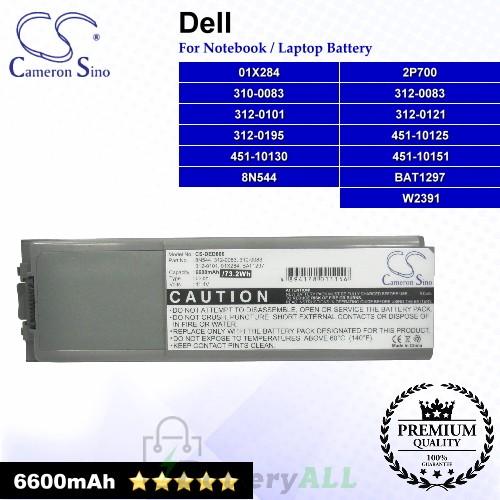 CS-DED800 For Dell Laptop Battery Model 01X284 / 2P700 / 310-0083 / 312-0083 / 312-0101 / 312-0121 / 312-0195