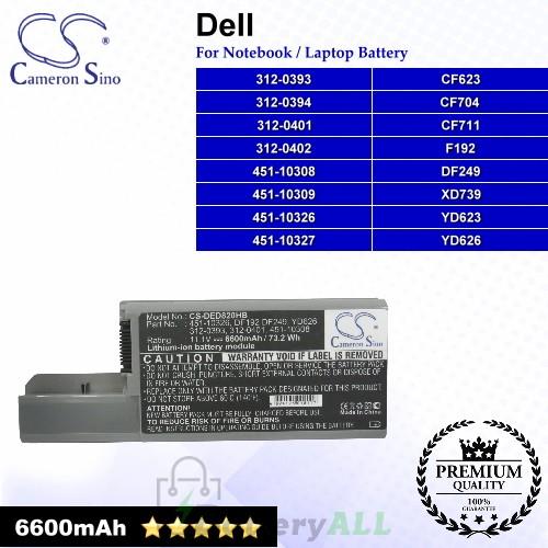 CS-DED820HB For Dell Laptop Battery Model 312-0393 / 312-0394 / 312-0401 / 312-0402 / 451-10308 / 451-10309