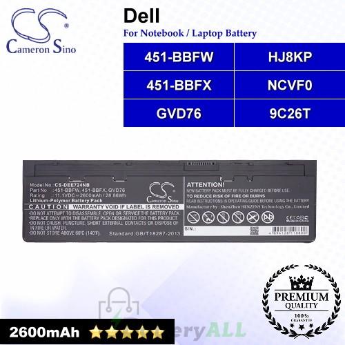 CS-DEE724NB For Dell Laptop Battery Model 451-BBFW / 451-BBFX / 9C26T / GVD76 / HJ8KP / NCVF0