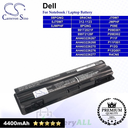 CS-DEL702NB For Dell Laptop Battery Model 08PGNG / 0J70W7 / 0JWPHF / 0R4CN5 / 312-1123 / 8PGNG / 991T2021F