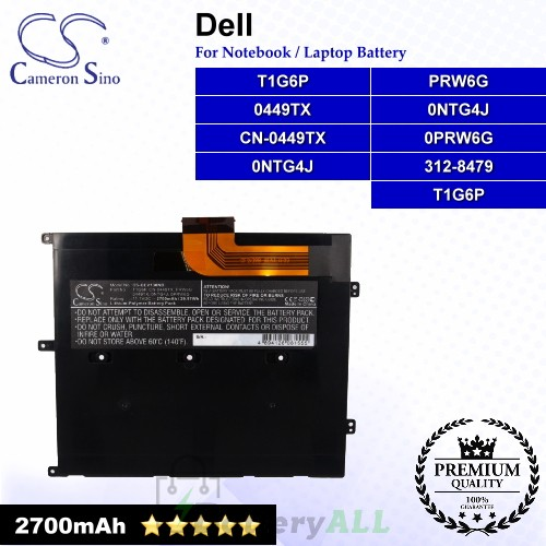 CS-DEV130NB For Dell Laptop Battery Model 0449TX / 312-8479 / CN-0449TX / ONTG4J / OPRW6G / PRW6G / T1G6P