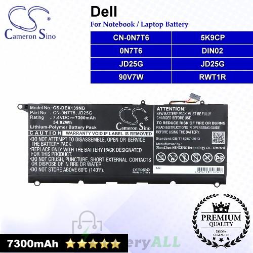 CS-DEX139NB For Dell Laptop Battery Model 0N7T6 / 5K9CP / 90V7W / CN-0N7T6 / DIN02 / JD25G / RWT1R