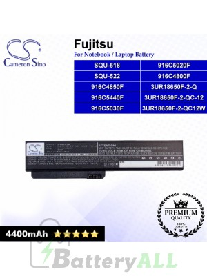 CS-FQU522NB For Fujitsu Laptop Battery Model 3UR18650F-2-Q / 3UR18650F-2-QC-12 / 3UR18650F-2-QC12W