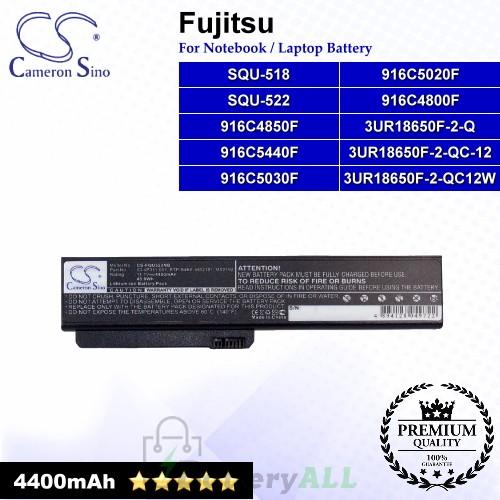 CS-FQU522NB For Fujitsu Laptop Battery Model 3UR18650F-2-Q / 3UR18650F-2-QC-12 / 3UR18650F-2-QC12W