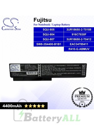 CS-FQU804NB For Fujitsu Laptop Battery Model 3UR18650-2-T0188 / 3UR18650-2-T0412 / 916C7830F / EAC34785411 (Black)