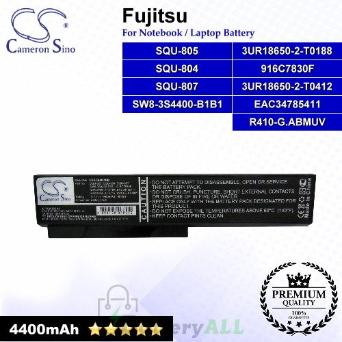 CS-FQU804NB For Fujitsu Laptop Battery Model 3UR18650-2-T0188 / 3UR18650-2-T0412 / 916C7830F / EAC34785411 (Black)