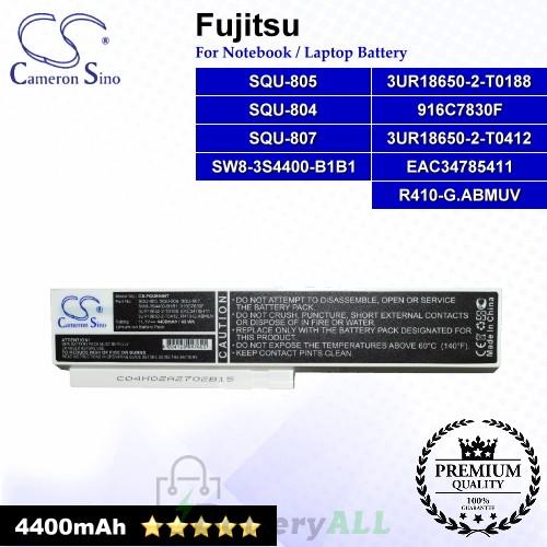 CS-FQU804NT For Fujitsu Laptop Battery Model 3UR18650-2-T0188 / 3UR18650-2-T0412 / 916C7830F / EAC34785411 (White)