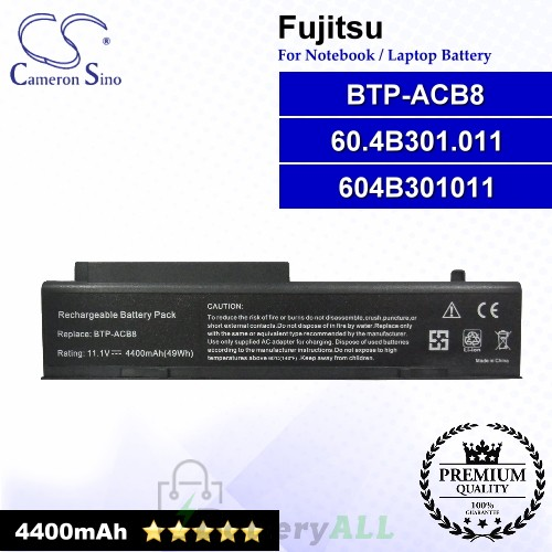 CS-FU1650NB For Fujitsu Laptop Battery Model 60.4B301.011 / 604B301011 / BTP-ACB8