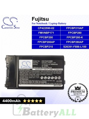 CS-FU4310NB For Fujitsu Laptop Battery Model CP422590-02 / FMVNBP171 / FPCBP200 / FPCBP200AP / FPCBP215