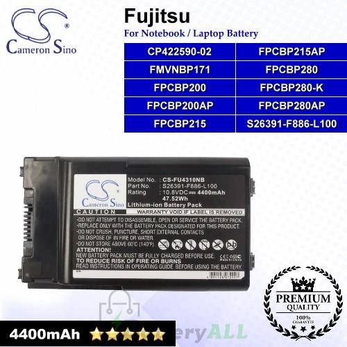 CS-FU4310NB For Fujitsu Laptop Battery Model CP422590-02 / FMVNBP171 / FPCBP200 / FPCBP200AP / FPCBP215