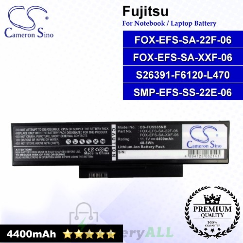 CS-FU5535NB For Fujitsu Laptop Battery Model FOX-EFS-SA-22F-06 / FOX-EFS-SA-XXF-06 / S26391-F6120-L470