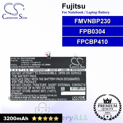 CS-FUH574NB For Fujitsu Laptop Battery Model FMVNBP230 / FPB0304 / FPCBP410