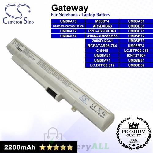 CS-ACZG5NB For Gateway Laptop Battery Model 2006DJ2341 / 4104A-AR58XB63 / 934T2780F / AR5BXB63 (White)