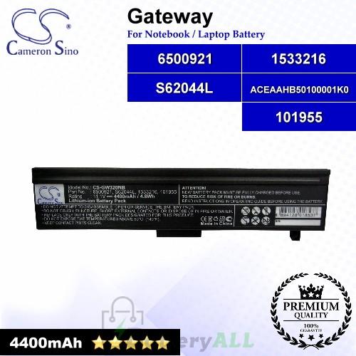 CS-GW320NB For Gateway Laptop Battery Model 101955 / 1533216 / 6500921 / ACEAAHB50100001K0 / S62044L