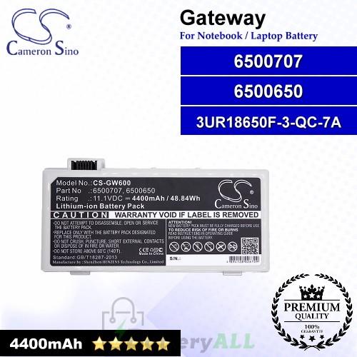CS-GW600 For Gateway Laptop Battery Model 3UR18650F-3-QC-7A / 6500650 / 6500707