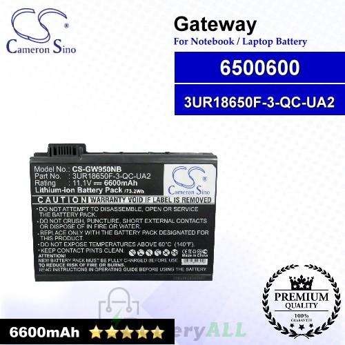 CS-GW950NB For Gateway Laptop Battery Model 3UR18650F-3-QC-UA2 / 6500600