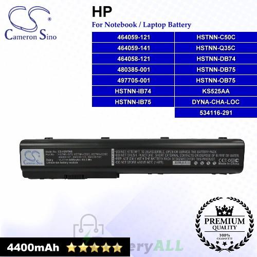 CS-HDV7NB For HP Laptop Battery Model 464058-121 / 464059-121 / 464059-141 / 480385-001 / 497705-001 / 534116-291