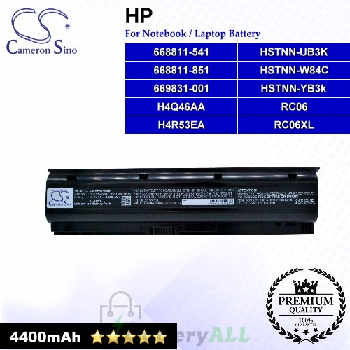 CS-HP4340NB For HP Laptop Battery Model 668811-541 / 668811-851 / 669831-001 / H4Q46AA / H4R53EA / HSTNN-UB3K