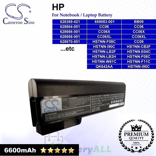 CS-HP8460HB For HP Laptop Battery Model 628368-241 / 628368-251 / 628368-351 / 628368-421 / 628368-541 / 628368-741
