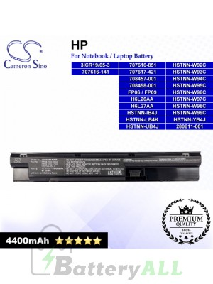 CS-HPB440NB For HP Laptop Battery Model 3ICR19/65-3 / 707616-141 / 707616-851 / 707617-421 / 708457-001