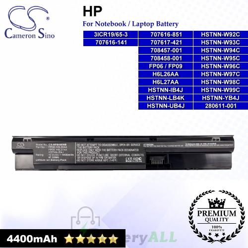 CS-HPB440NB For HP Laptop Battery Model 3ICR19/65-3 / 707616-141 / 707616-851 / 707617-421 / 708457-001