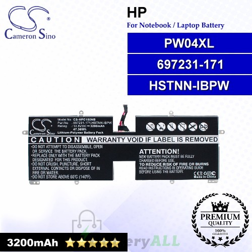 CS-HPC105NB For HP Laptop Battery Model 697231-171 / HSTNN-IBPW / PW04XL