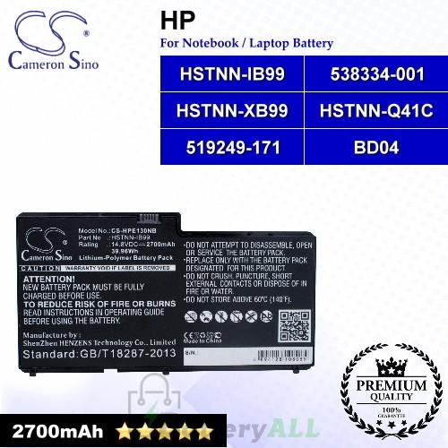 CS-HPE130NB For HP Laptop Battery Model 519249-171 / 538334-001 / BD04 / HSTNN-IB99 / HSTNN-Q41C / HSTNN-XB99