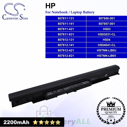 CS-HPG240NB For HP Laptop Battery Model 807611-131 / 807611-141 / 807611-421 / 807611-831 / 807612-131 / 807612-141