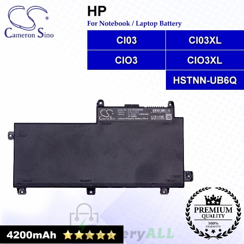 CS-HPG650NB For HP Laptop Battery Model CI03 / CI03XL / CIO3 / CIO3XL / HSTNN-UB6Q / T7B31AA