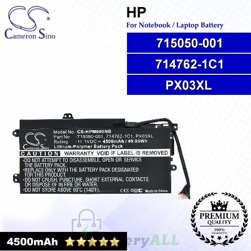 CS-HPM600NB For HP Laptop Battery Model 714762-1C1 / 714762-2C1 / 714762-421 / 715050-00 / 715050-001