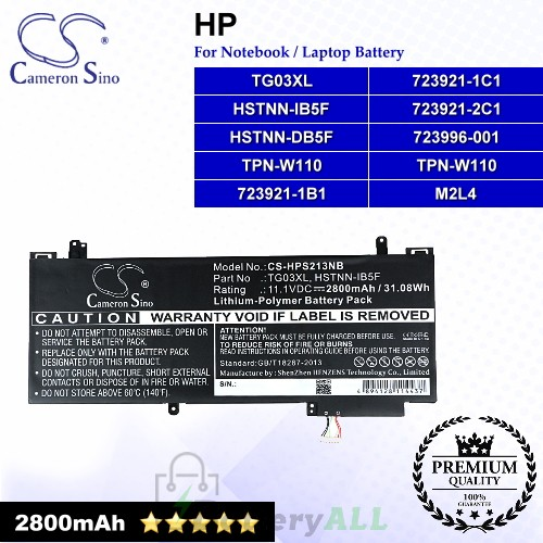 CS-HPS213NB For HP Laptop Battery Model 723921-1B1 / 723921-1C1 / 723921-2C1 / 723996-001 / HSTNN-DB5F