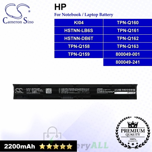 CS-HPV150NB For HP Laptop Battery Model 800049-001 / 800049-241 / HSTNN-DB6T / HSTNN-LB6S / KI04 / TPN-Q158