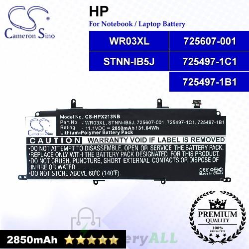 CS-HPX213NB For HP Laptop Battery Model 725497-1B1 / 725497-1C1 / 725607-001 / STNN-IB5J / WR03XL