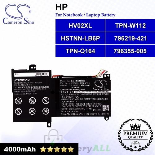 CS-HPX366NB For HP Laptop Battery Model 796219-421 / 796355-005 / HSTNN-LB6P / HV02XL / TPN-Q164 / TPN-W112
