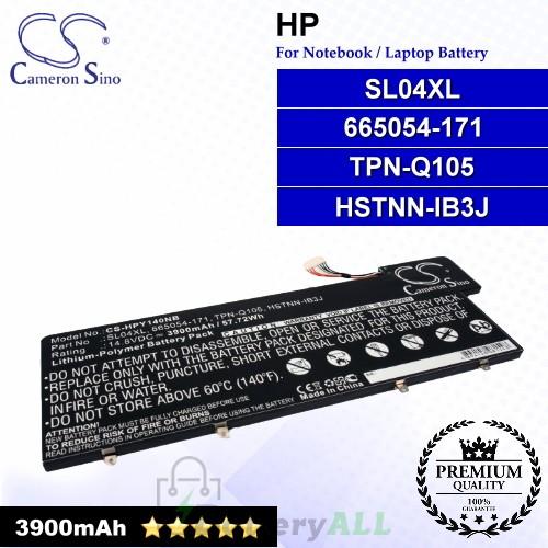 CS-HPY140NB For HP Laptop Battery Model 665054-171 / HSTNN-IB3J / SL04XL / TPN-Q105