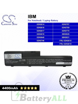 CS-IBA20SL For IBM Laptop Battery Model 02K6614 / 02K6616 / 02K6617 / 02K6618 / 02K6640 / 02K6746 / 02K6767