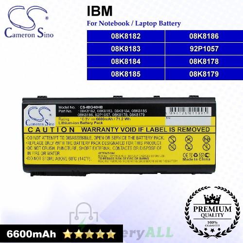 CS-IBG40HB For IBM Laptop Battery Model 08K8178 / 08K8179 / 08K8182 / 08K8183 / 08K8184 / 08K8185 / 08K8186