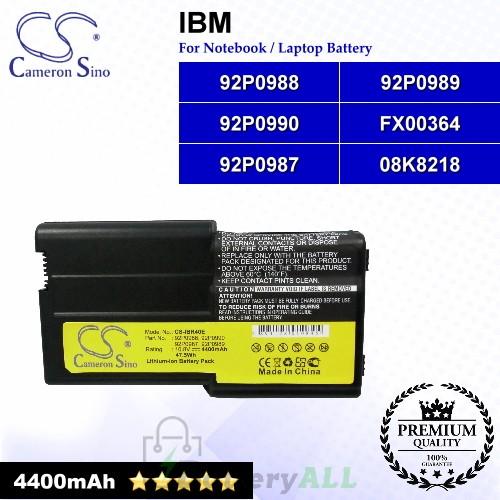 CS-IBR40E For IBM Laptop Battery Model 08K8218 / 92P0987 / 92P0988 / 92P0989 / 92P0990 / FX00364
