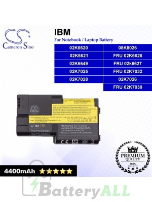 CS-IBT20 For IBM Laptop Battery Model 02K6620 / 02K6621 / 02K6649 / 02K7025 / 02K7026 / 02K7028 / 08K8026