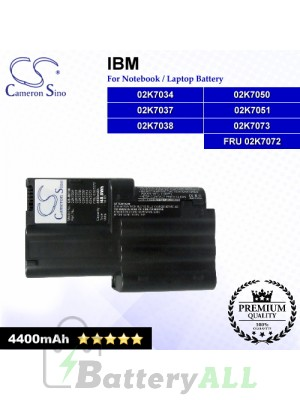 CS-IBT30 For IBM Laptop Battery Model 02K7034 / 02K7037 / 02K7038 / 02K7050 / 02K7051 / 02K7073 / FRU 02K7072