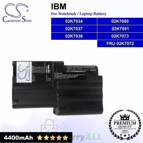 CS-IBT30 For IBM Laptop Battery Model 02K7034 / 02K7037 / 02K7038 / 02K7050 / 02K7051 / 02K7073 / FRU 02K7072