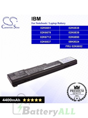 CS-IBX22 For IBM Laptop Battery Model 02K6651 / 02K6678 / 02K6712 / 02K6837 / 02K6838 / 02K6839 / 02K6850